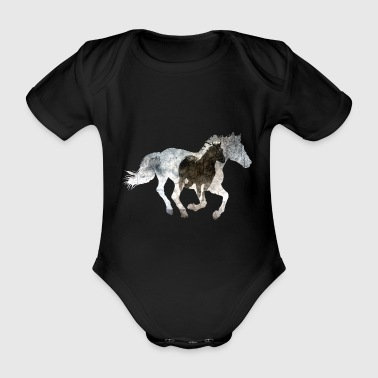 Gallop Galloping horse - Organic Short-sleeved Baby Bodysuit