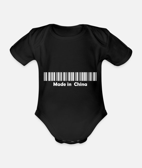 China Baby Clothes - Made in China 2 white - Organic Short-Sleeved Baby Bodysuit black