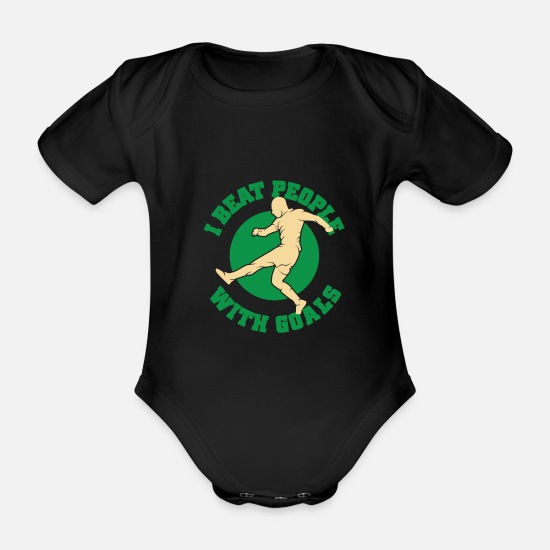 Gift Idea Baby Clothes - Soccer sport - Organic Short-Sleeved Baby Bodysuit black