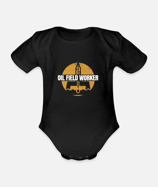 Industry Baby Bodysuits - Oil field worker - Organic Short-Sleeved Baby Bodysuit black