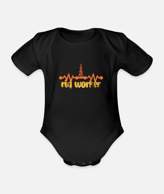 Industry Baby Bodysuits - Oil rig worker gift idea - Organic Short-Sleeved Baby Bodysuit black
