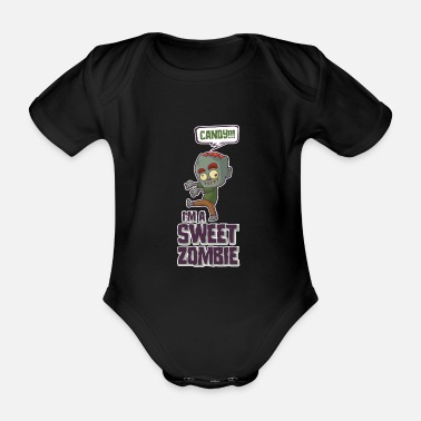 Cookie Zombie Eat Candy Not Brains Søt Halloween-kostyme - Økologisk kortermet babybody