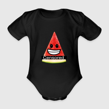 sexy watermelon - censored for nudity - Organic Short-sleeved Baby Bodysuit