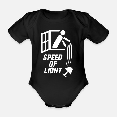 Speed Of Light Speed of light! (White) - Organic Short-Sleeved Baby Bodysuit