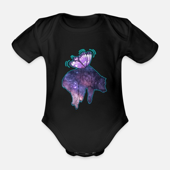 Gift Idea Baby Clothes - Butterfly bear galaxy - Organic Short-Sleeved Baby Bodysuit black