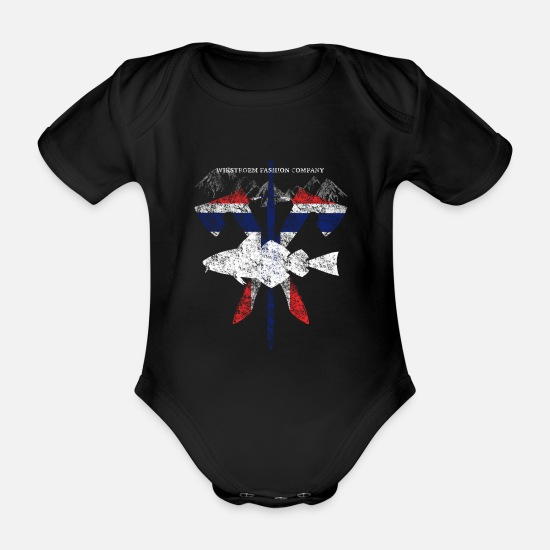Travel Baby Clothes - Wikstroem - Norway fish weapons mountains used look - Organic Short-Sleeved Baby Bodysuit black