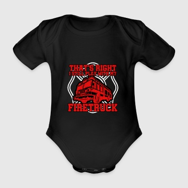 Fire Department Fire Department Firefighter Occupation Fire Car Fire - Organic Short-sleeved Baby Bodysuit
