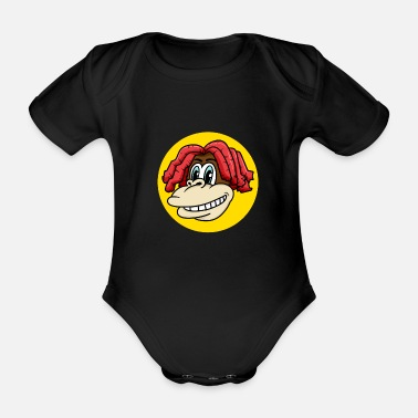 Charade Monkey face with cool hair for monkey fans - Organic Short-Sleeved Baby Bodysuit