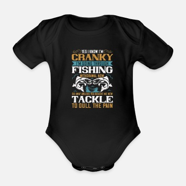 Fishing Angler fishing fishing fish hobby saying - Organic Short-Sleeved Baby Bodysuit