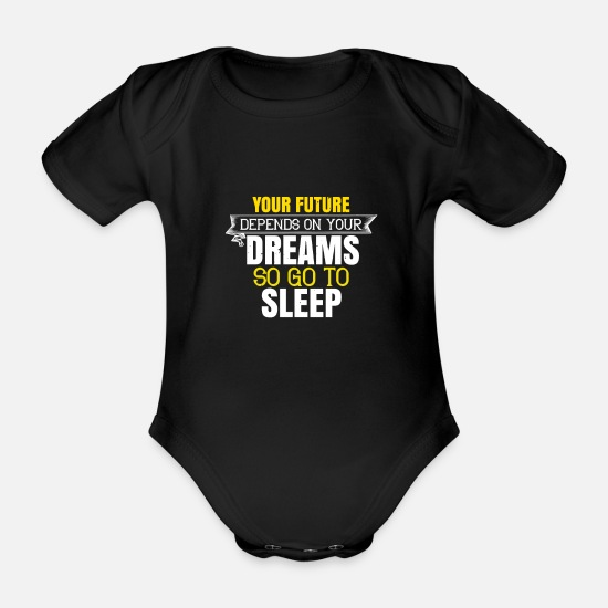 Alarm Clock Baby Clothes - The future depends on your dreams - Organic Short-Sleeved Baby Bodysuit black