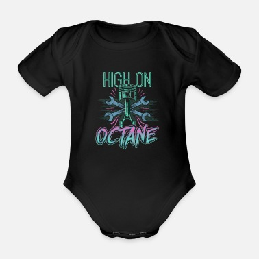 Speed Frenzy High On Octane - Motor Sport Mechanic Racing - Organic Short-Sleeved Baby Bodysuit