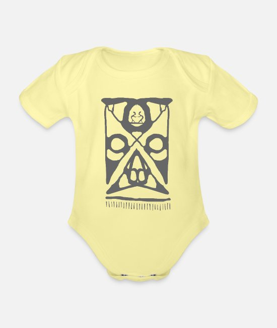 Maori Baby Clothes - Maori face - Organic Short-Sleeved Baby Bodysuit washed yellow