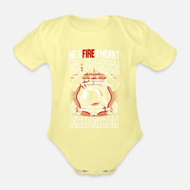 Fire Fire fighter graphic - Organic Short-Sleeved Baby Bodysuit