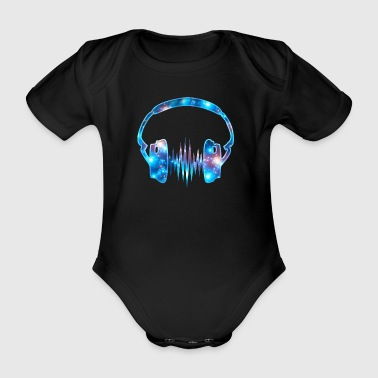 Headphones, headphones, galaxy, pulse, frequency, fun - Organic Short-sleeved Baby Bodysuit