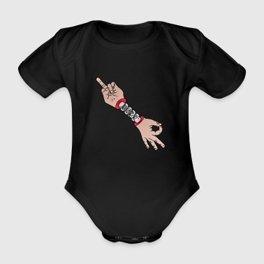Middle Finger Looked Dope (Colorful)! - Organic Short-sleeved Baby Bodysuit