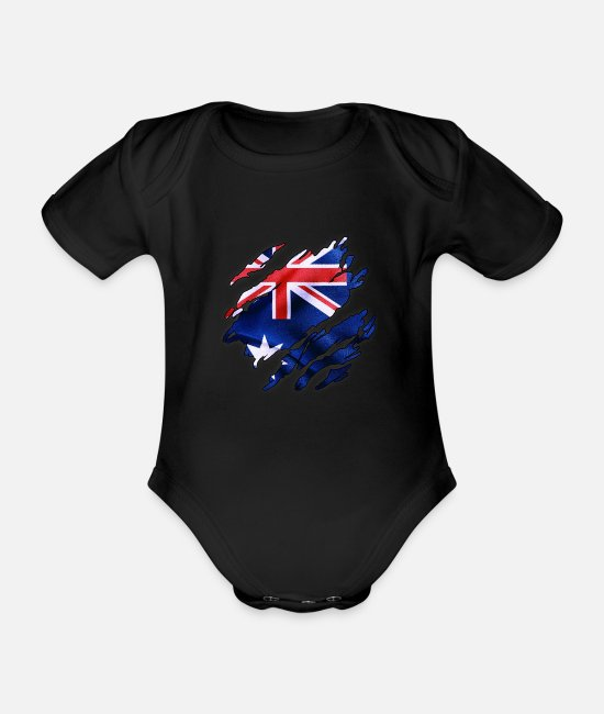 Flag Of Australia Baby Bodysuits - Flag of Australia - Organic Short-Sleeved Baby Bodysuit black
