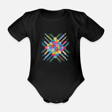 Square Colourful Pattern - Organic Short-Sleeved Baby Bodysuit