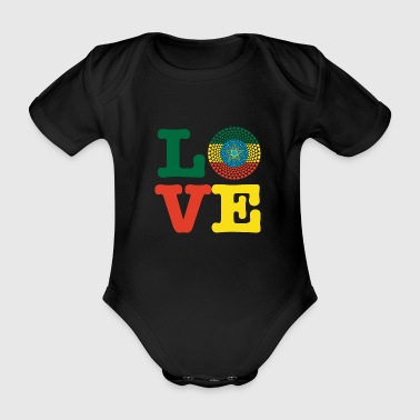 Ethiopia Ethiopia ኢትዮጵያ Love heart mandala - Organic Short-sleeved Baby Bodysuit