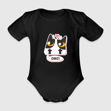 Dumbbell illustration Children funny cat Kitty - Organic Short-sleeved Baby Bodysuit