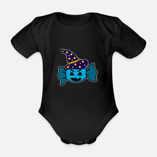 Witches Broom Baby Clothes - sweet - Organic Short-Sleeved Baby Bodysuit black