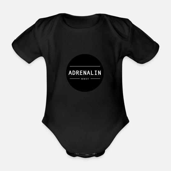 Gift Idea Baby Clothes - ADRENALINE - Organic Short-Sleeved Baby Bodysuit black