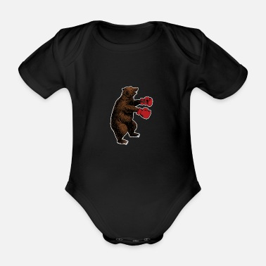 R&b B�r with boxing gloves - Organic Short-sleeved Baby Bodysuit