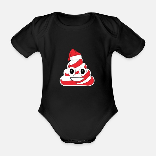 Candy Cane Baby Clothes - Candy Cane Poop Emoji Christmas Candy Cane Tea - Organic Short-Sleeved Baby Bodysuit black