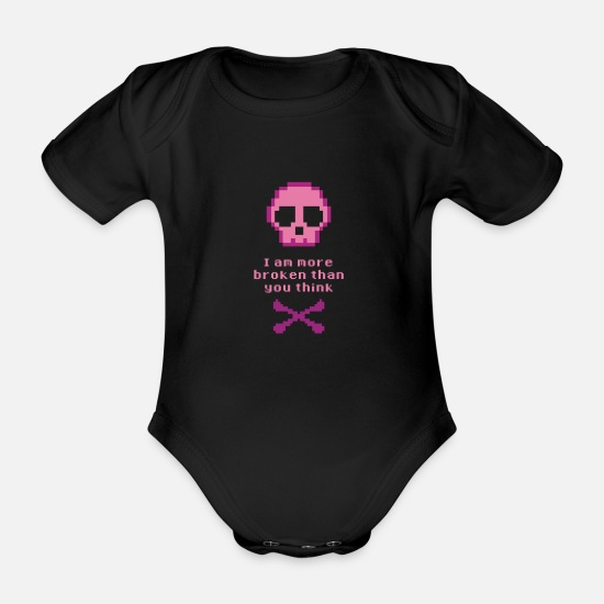 Birthday Baby Clothes - Broken bones! Broken man! gift - Organic Short-Sleeved Baby Bodysuit black