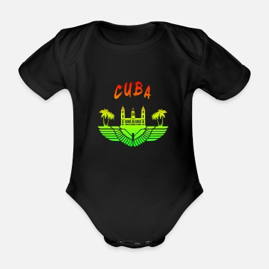 Socialist Cuba Palace with palms colorful / gift - Organic Short-sleeved Baby Bodysuit