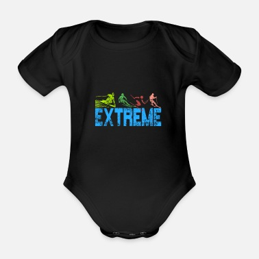 Skiing Ski - Organic Short-Sleeved Baby Bodysuit