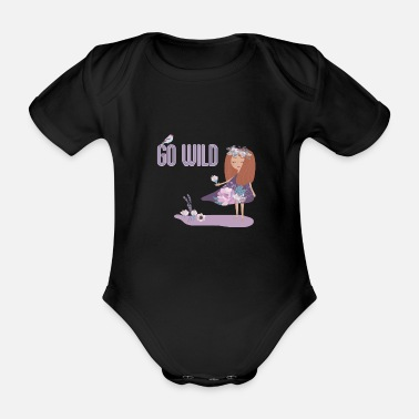 Pretty Go Wild - flower girl - Organic Short-Sleeved Baby Bodysuit