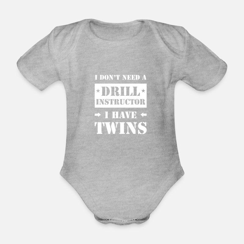 Grappige Gezegde Ouders Van Een Tweeling Cadeau Baby Bio Rompertje Met Korte Mouwen Grijs Gemêleerd