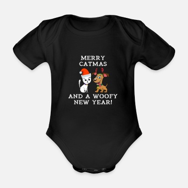 Woofy Merry Catmas And Woofy New Year Cat Dog Owner - Organic Short-Sleeved Baby Bodysuit