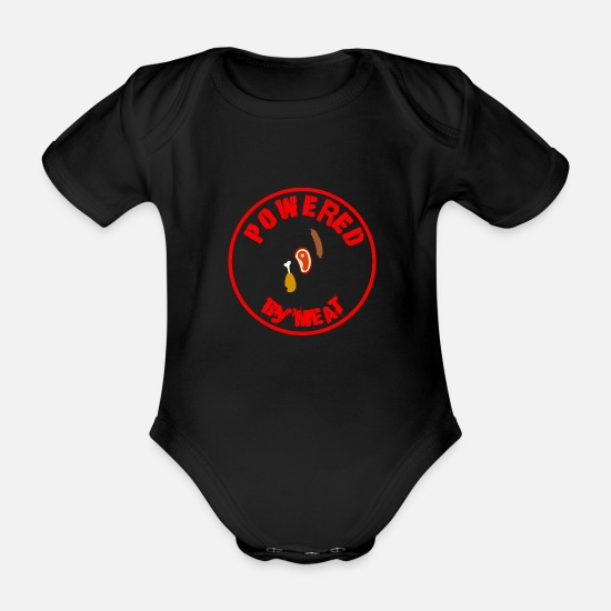 Birthday Baby Clothes - Powered by meat saying for barbecues and men - Organic Short-Sleeved Baby Bodysuit black