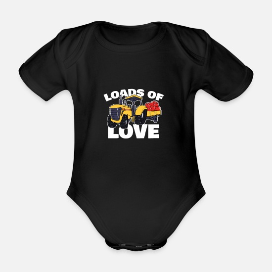 Love Baby Clothes - Valentine's Day Cute Truck Heart Loads Of Love - Organic Short-Sleeved Baby Bodysuit black