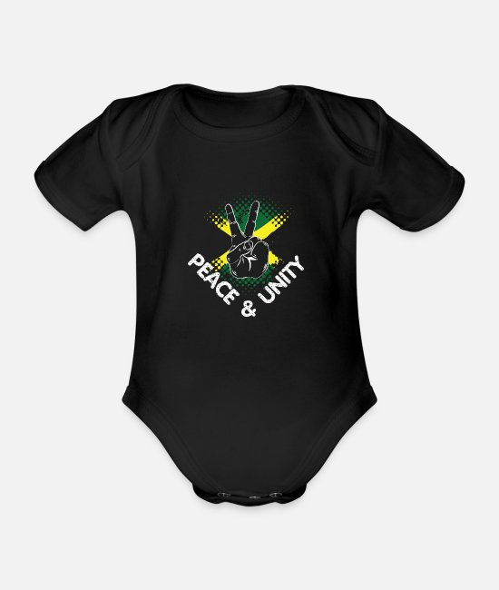 Rasta Baby Clothes - Peace & Unity - Organic Short-Sleeved Baby Bodysuit black