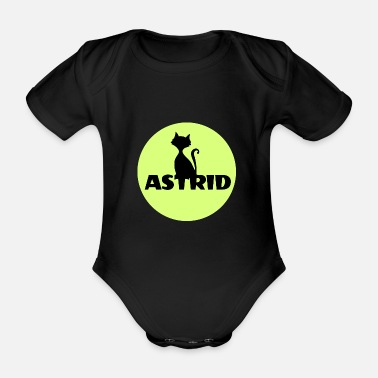 Name Day Astrid name cat full moon name day - Organic Short-sleeved Baby Bodysuit