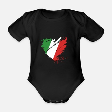 Cuore Coeur Cuore Italie Calcio Italiano Football - Body bébé bio manches courtes