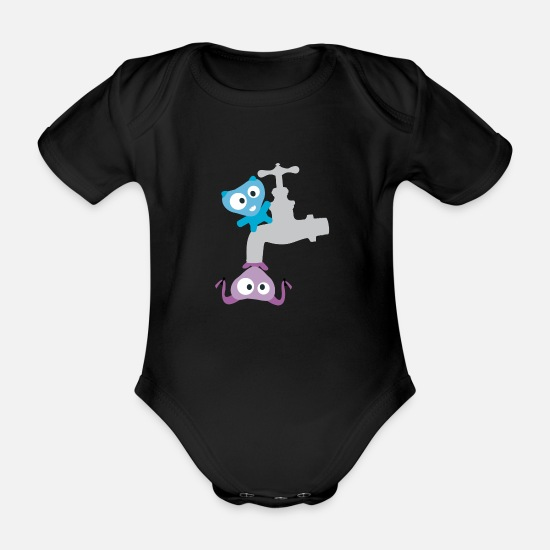Character Baby Clothes - Cute Monster - Organic Short-Sleeved Baby Bodysuit black