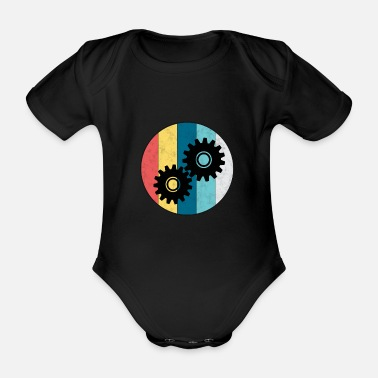 Swag Engineer vintage gear mechanic profession gift - Organic Short-Sleeved Baby Bodysuit