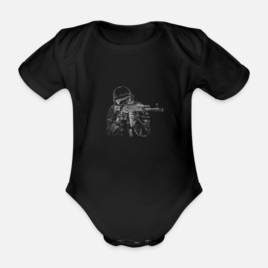 Special Baby Clothes - Special Forces - Organic Short-Sleeved Baby Bodysuit black