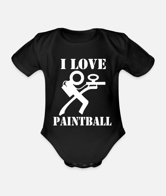 Colour Splash Baby Bodysuits - I love paintball - Organic Short-Sleeved Baby Bodysuit black