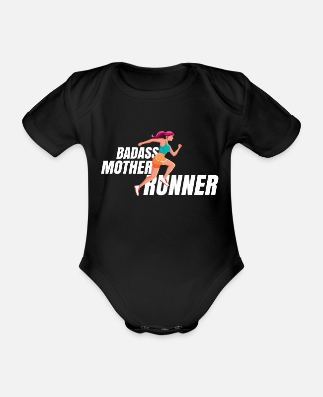 Competition Baby Bodysuits - Jogger mother running MOM jogging Marathon - Organic Short-Sleeved Baby Bodysuit black
