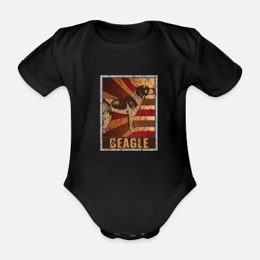 Open Retro Beagle poster Distressed Look - Organic Short-sleeved Baby Bodysuit