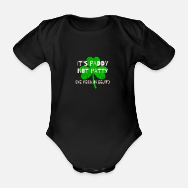 Feckin Feckin Eejit Distressed for St Paddy's Day - Organic Short-Sleeved Baby Bodysuit