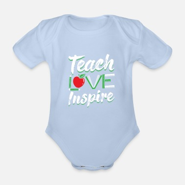 Teacher Teach Love Inspire Teacher Teacher Teacher Learning - Økologisk kortærmet babybody