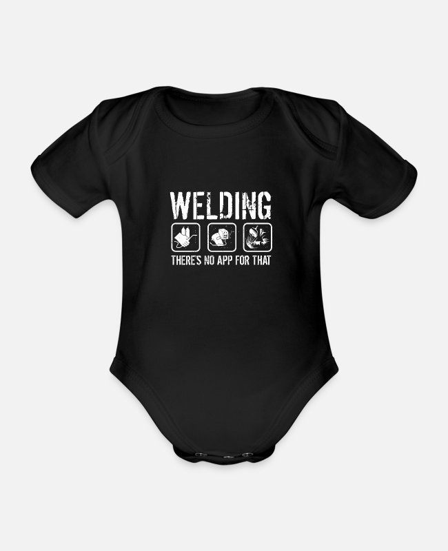 Dipped Baby Bodysuits - There is no app for welding - Organic Short-Sleeved Baby Bodysuit black