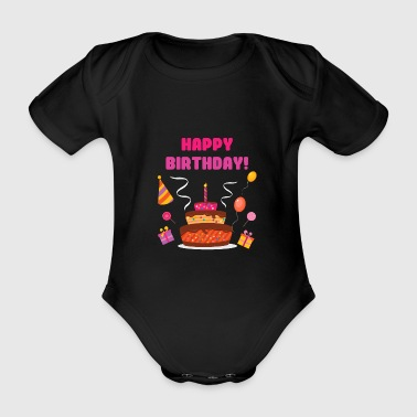 Camiseta Happy Birthday Engratulations - Body orgánico de maga corta para bebé