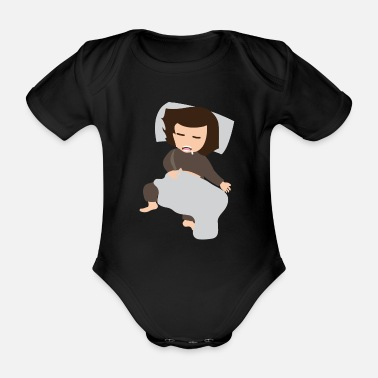 Kindergarten funny kids funny kid with blanket 416 - Organic Short-Sleeved Baby Bodysuit