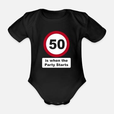 Greypowered.com 50 is when the Party Starts (2 colors - dark shirt - Organic Short-Sleeved Baby Bodysuit